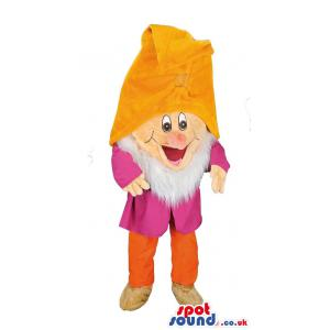 Happy dwarf mascot with a yellow hat and a red costume - Custom