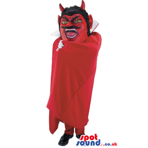 Red Devil Mascot With Red Cape And Black Mustache - Custom