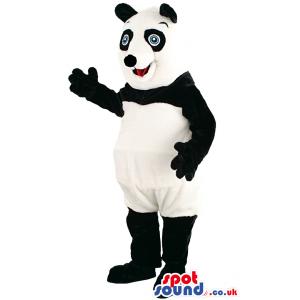 Black And White Panda Bear Animal Mascot With Blue Eyes -