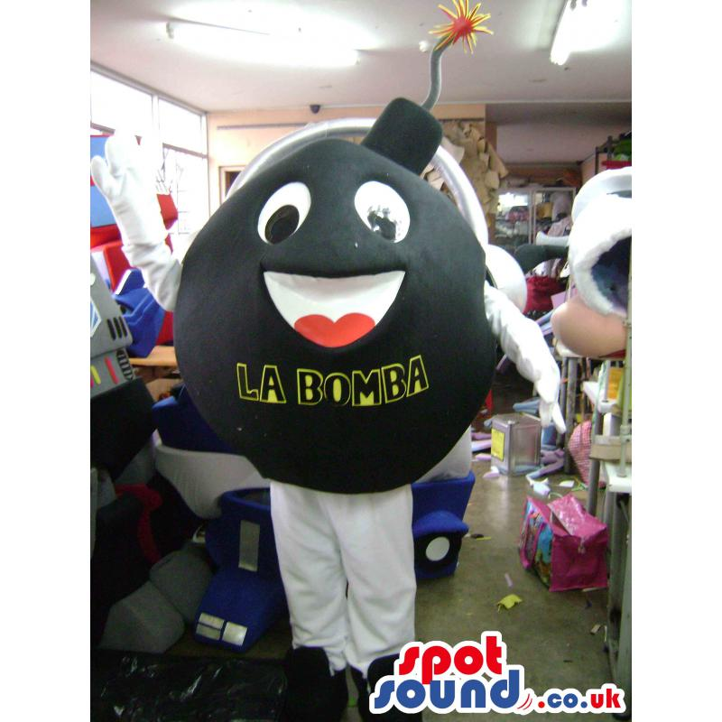 Black and white colour happy bomb mascot with black shoes -