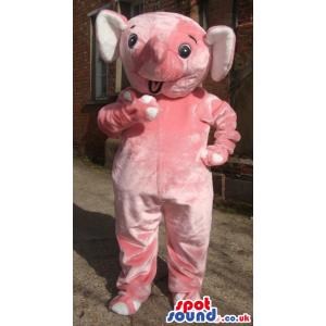 Pink Plain And Customizable Elephant Animal Mascot - Custom