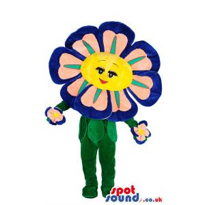 Colourful innocent small flower mascot standing happily -