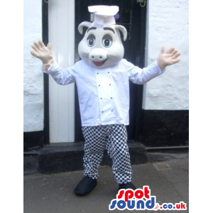 Pig Animal Mascot With Black And White Chef Hat And Clothes -