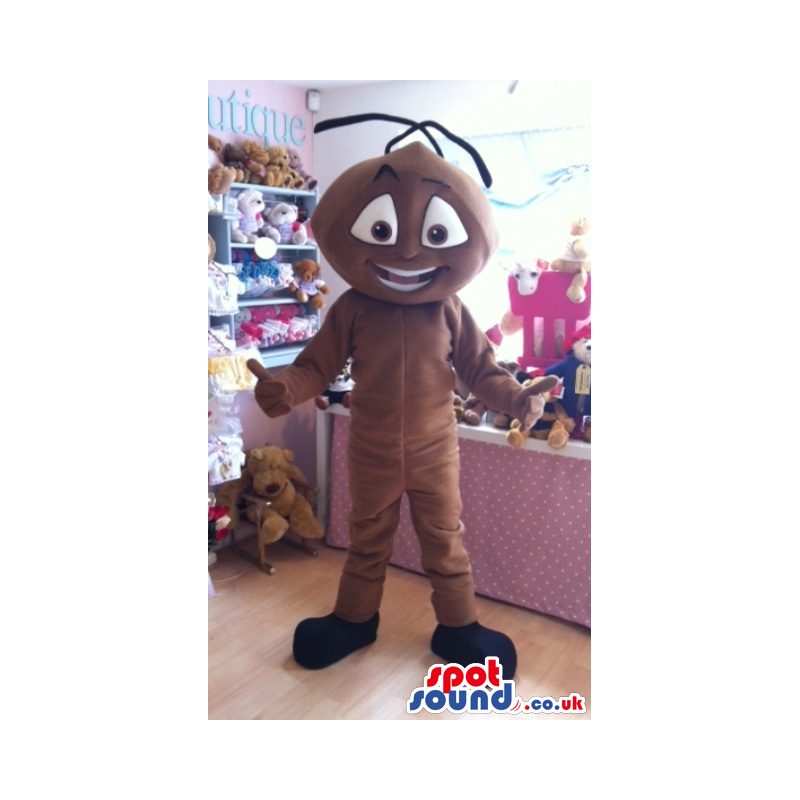 Brown Ant Insect Mascot With Antennae And Big Eyes And Smile -