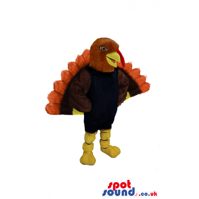 Thanksgiving Turkey Animal Mascot With Outstanding Feathers -