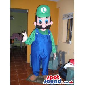 Mario mascot with big mushtache in blue- green cloth in green
