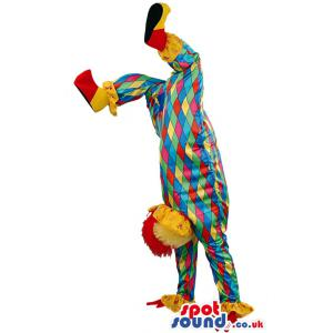 Clown mascot with his fancy clothes with his legs up - Custom
