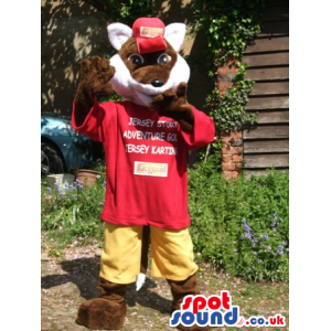 Brown And White Fox Animal Mascot With Red T-Shirt And Yellow