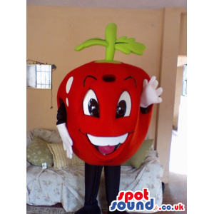 Red Apple Fruit Mascot With Big Eyes And White Teeth - Custom