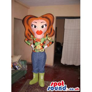 Lady mascot with a fashionable clothes and green boots - Custom
