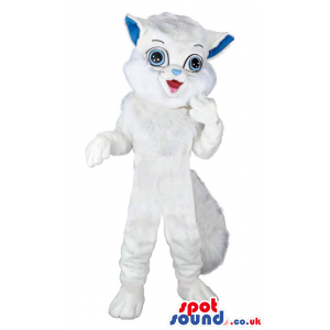 Plain White Pussy Cat Animal Mascot With Blue Eyes And Ears -
