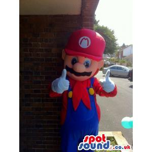 Super Mario with blue jumper and in red shirt & in red hard cap