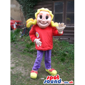 Blond Haired Girl Human Mascot With Red T-Shirt And Pants -