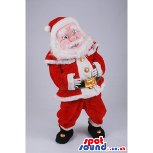 Santa Claus Human Mascot With Red And White Clothes And Belt -
