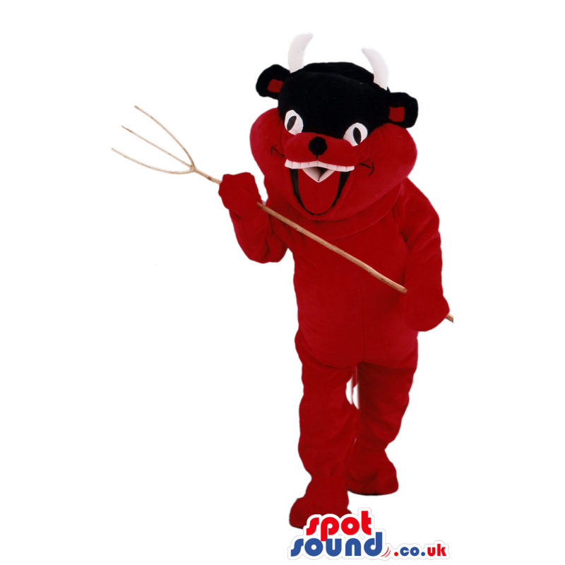 Customizable Red And Black Devil Mascot With A Pitch Fork -