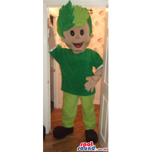 Boy Mascot With Green Clothes And Hair In Leaves - Custom