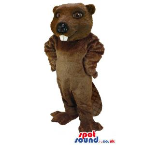 Brown mongoose with protruding teeth and typical tail - Custom