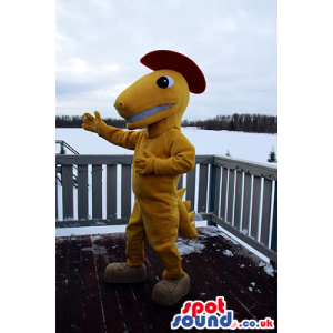 Customizable Brown And Yellow Dinosaur Mascot With Long Tail -