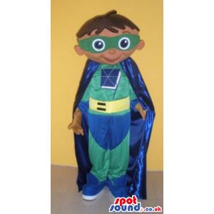 Green And Blue Super Hero Human Boy Mascot With Cape - Custom