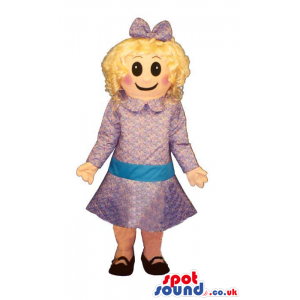 Blond Girl Mascot Wearing Purple Dress, Bow And Black Shoes -