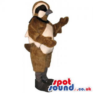 Customizable Brown And Beige Sparrow Bird Mascot With Black