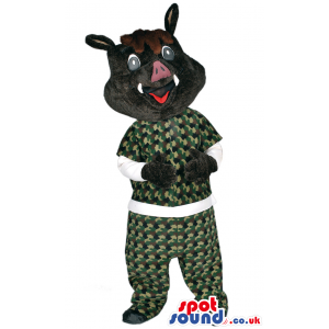 Boar Wild Pig Animal Mascot With Special Camouflage Garments -