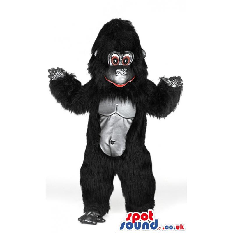 Giant black chimpansee mascot smiling with a cute look - Custom