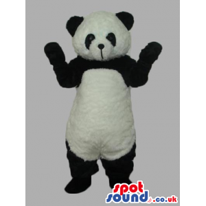 Plain Black And White Panda Bear Mascot With Closed Mouth -