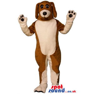 Brown And Beige Plain And Customizable Dog Animal Mascot -