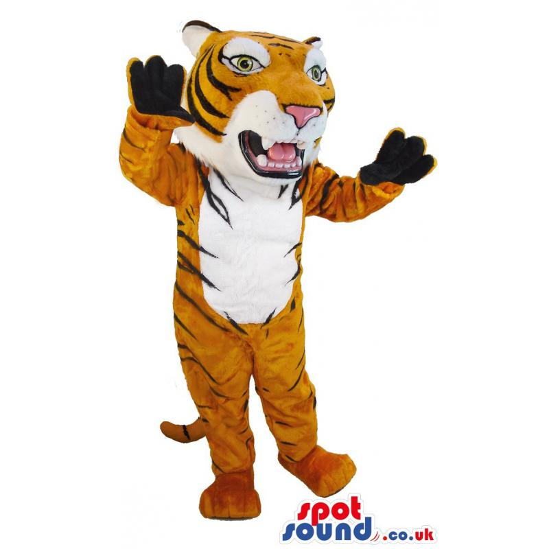 Sweet little brown tiger mascot standing in a funny way -