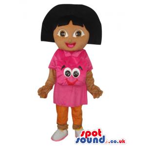 Dark Face Dora The Explorer Tv Series Girl Mascot With Face