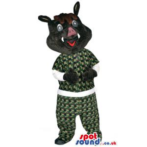 Black dog mascot who is in camouflage shirt and pants. - Custom