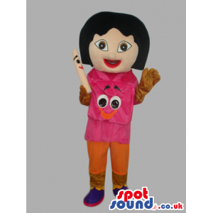 Dora The Explorer Tv Series Girl Mascot With Special Face