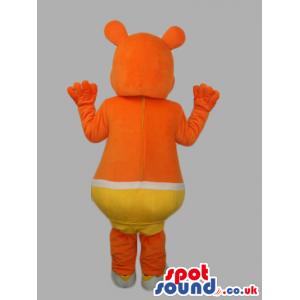 Orange Customizable Mascot Wearing Yellow Underwear - Custom