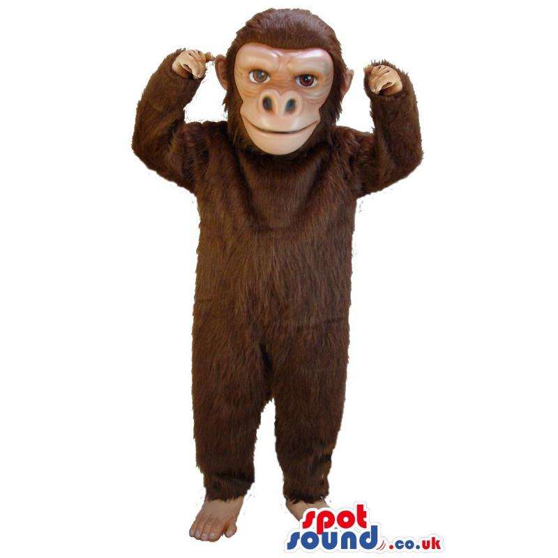 Monkey mascot in brown colour with bare foot looking at you -