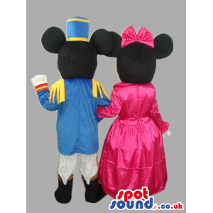 Minnie And Mickey Mouse Characters Wearing Princess Clothes -