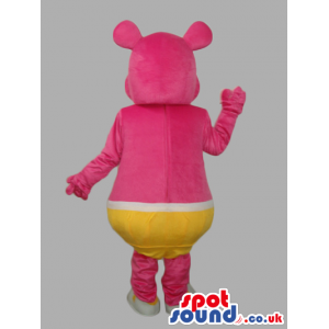 Pink Customizable Mascot Wearing Yellow Underwear With Two