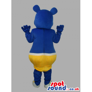 Blue Customizable Mascot Wearing Yellow Underwear With Two