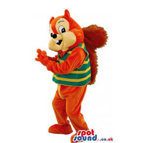 Squirrel mascot in orange with stripes of yellow green t-shirt