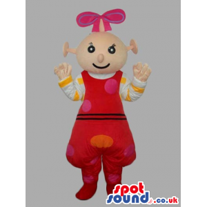 Alien Girl Mascot Wearing Red Dress With Dots And Ribbon -