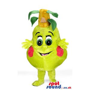 Pears mascot with cute smile and with green clothes and shoes -