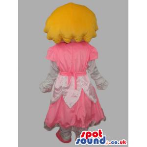 Blonde Princess Human Character Mascot With Pink Dress - Custom