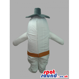 White Plush Onion Customizable Mascot With A Black Hat - Custom