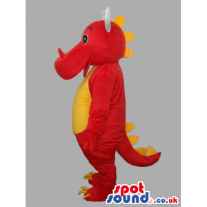 Red And Yellow Customizable Dragon Mascot With White Horns -