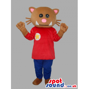 Brown And Pink Cat Animal Mascot With T-Shirt And Pants -