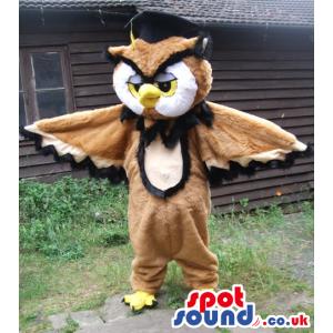 Customizable Brown And White Owl Bird Mascot With Yellow Beak -