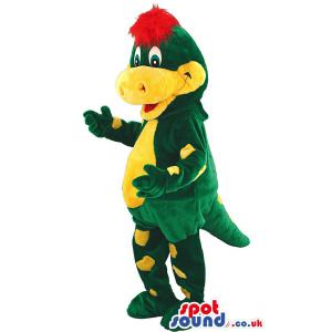 Big green and yellow friendly crocodile mascot with red hair -