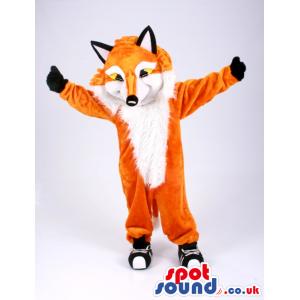 Orange And White Customizable Fox Animal Mascot With Sneakers -