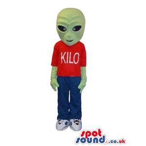 Green Customizable Alien Mascot Wearing Red T-Shirt - Custom