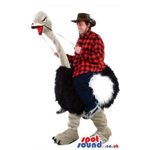 Ostrich mascot with gray body with black feathers - Custom